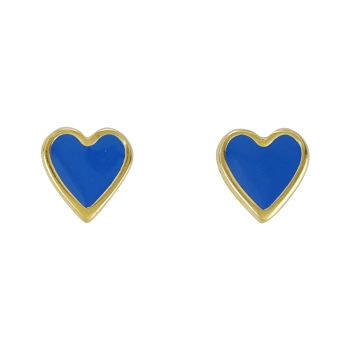 Heart Earring Post Gold Epoxy - Blue - Per 2 Pieces
