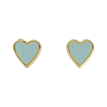 Heart Earring Post Gold Epoxy - Pale Jade - Per 2 Pieces