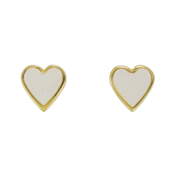 Heart Earring Post Gold Epoxy - White - Per 2 Pieces