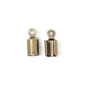 3mm Crimp End Cap with Loop - Antique Brass (2pcs)
