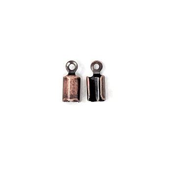 3mm Crimp End Cap Loop Cord End Clasp - Antique Copper (2pcs)