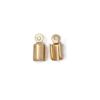3mm Crimp End Cap Loop Cord End Clasp - Matte Gold (2pcs)