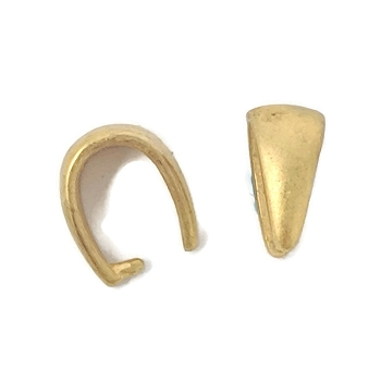 Solid Brass 10mm Pinch Bail - Matte Gold