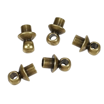 Glue-in Bead Cap with Loop Ant Brass per 5 pieces