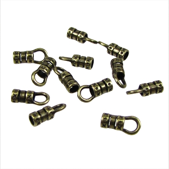 3mm Round Leather Crimp End with Loop ANT BRASS (2)