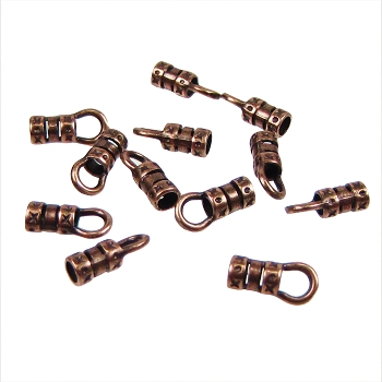 3mm Round Leather Crimp End with Loop ANT COPPER (2)