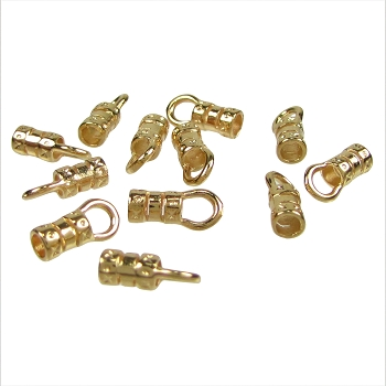 1.5mm Round Leather Crimp End with Loop GOLD (2)