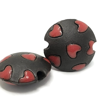 Golem Studio red hearts dark lentil bead small