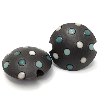 Golem Studio white/blue polka dots lentil bead small