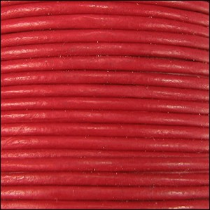 2mm Round Leather Cord - Red