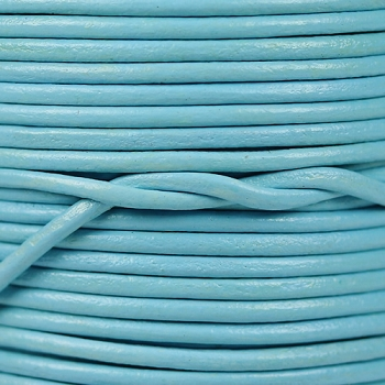 2mm Round Indian Leather Cord - Light Blue - per foot