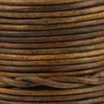 1mm Round Leather Cord - Brown