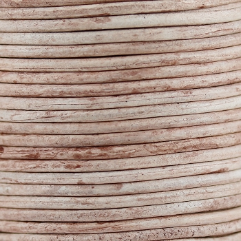3mm Round Indian Leather Cord - Ivory - per inch