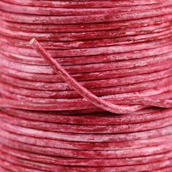 3mm Round Indian Leather Cord - Carmine - per inch