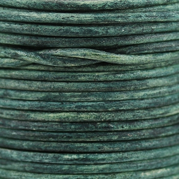 3mm Round Indian Leather Cord - Basil Green - per inch