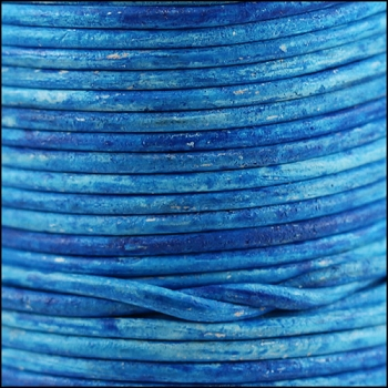 3mm Round Indian Leather Cord - Azure - per inch