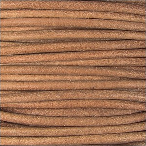2mm Round Indian Leather Cord - Natural Dye - per foot