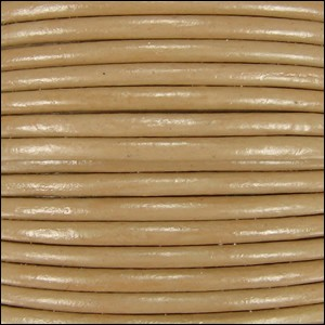 2mm Round Indian Leather Cord - Khaki - per foot