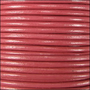 2mm Round Indian Leather Cord - Strawberry - per foot