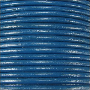 2mm Round Indian Leather Cord - Dark Blue - per foot