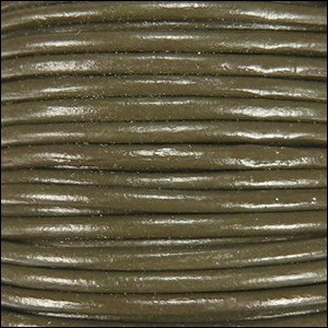 2mm Round Indian Leather Cord - Olive