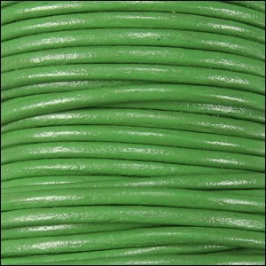 2mm Round Indian Leather Cord - Green - per foot