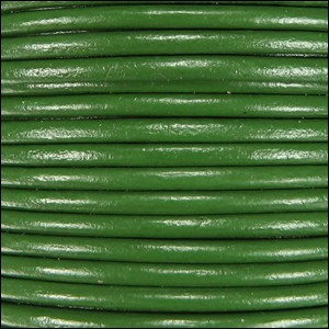 2mm Round Indian Leather Cord - Kelly Green - per foot