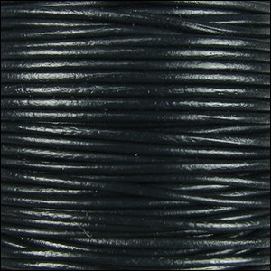 2mm Round Indian Leather Cord - Jet Black - per foot