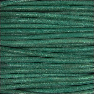 2mm Round Indian Leather Cord - Turquoise Natural Dye
