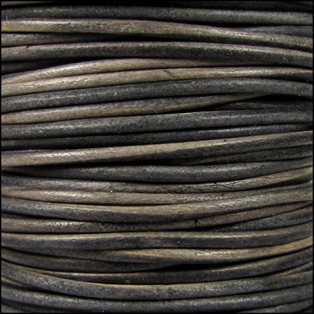 2mm Round Indian Leather Cord - Grey Brown Natural Dye - per foot