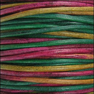 2mm Round Indian Leather Cord - Kinte Natural Dye - per foot