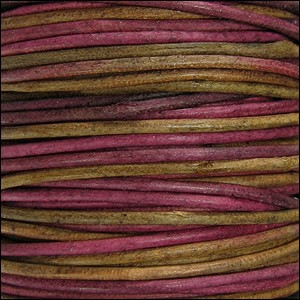 2mm Round Indian Leather Cord - Irasa Natural Dye - per foot