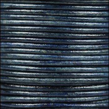 2mm Round Indian Leather Cord - Natural Denim