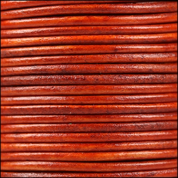 2mm Round Indian Leather Cord - Natural Orange