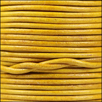 2mm Round Indian Leather Cord per 25M SPOOL - Natural Mustard
