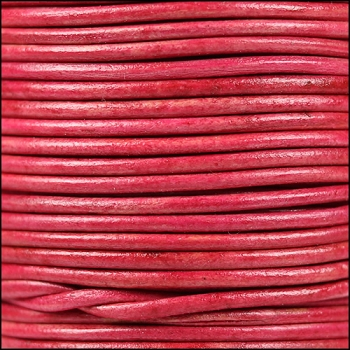 2mm Round Indian Leather Cord - Natural Cerise