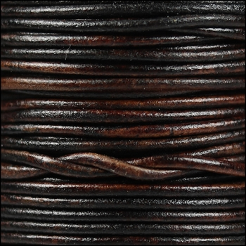 2mm Round Indian Leather Cord - Natural Dark Brown