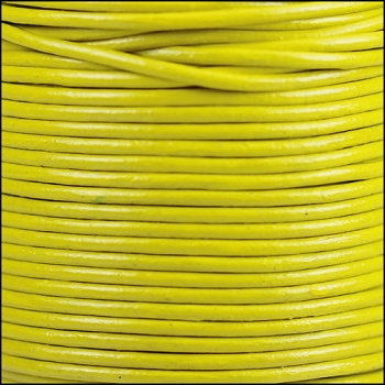 2mm Round Indian Leather Cord - Lime Yellow - per foot