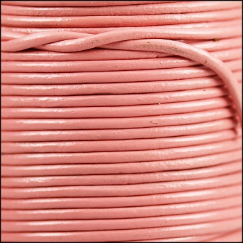 2mm Round Indian Leather Cord - Baby Pink - per foot