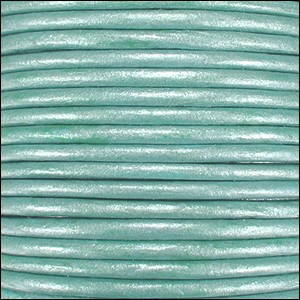2mm Round Indian Leather Cord - Metallic Light Turquoise