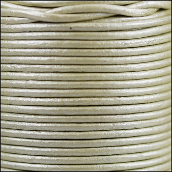 2mm Round Indian Leather Cord - Metallic Pale Cream