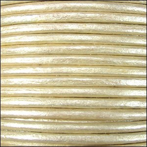 2mm Round Indian Leather Cord - Metallic Cream