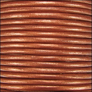 2mm Round Indian Leather Cord - Metallic Burnt Orange