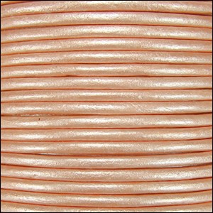 2mm Round Indian Leather Cord - Metallic Light Salmon