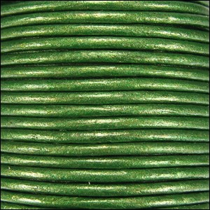 2mm Round Indian Leather Cord - Metallic Kelly Green