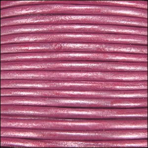 2mm Round Indian Leather Cord - Metallic Fuchsia
