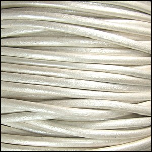 2mm Round Indian Leather Cord - Metallic Pearl