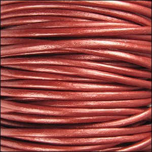 2mm Round Indian Leather Cord per 25M SPOOL - Metallic Russet