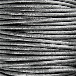 2mm Round Indian Leather Cord - Metallic Grey