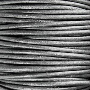 2mm Round Indian Leather Cord per 25M Spool - Metallic Grey